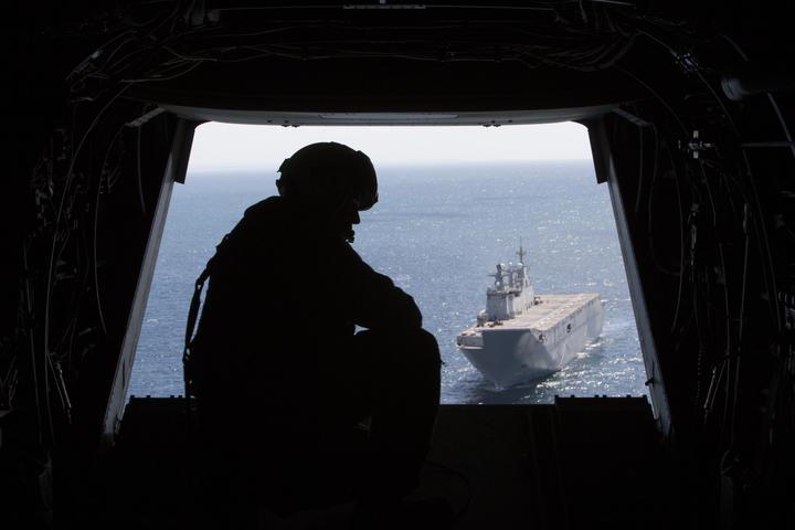 El Juan Carlos I desde un Osprey