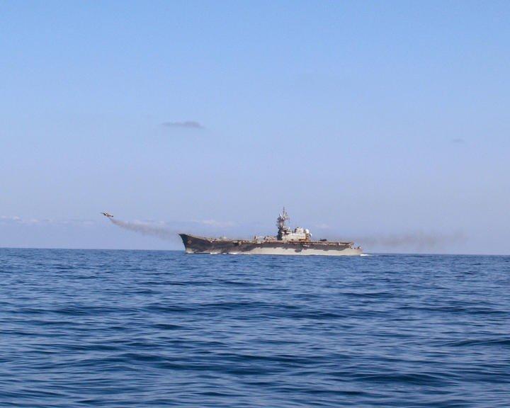 Portaaviones Príncipe de Asturias: despegue de un Harrier