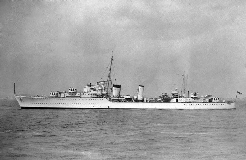 The Royal Navy Tribal-class destroyer HMS Afridi (F07) as completed 1938