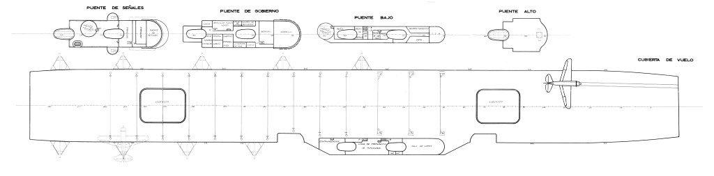 Conversión Crucero Canarias en portaaviones: Cubierto de vuelo e isla